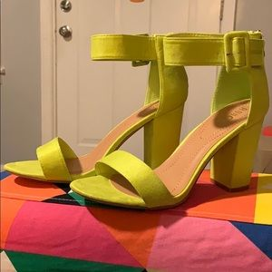 New Neon Yellow Ankle Strap Heels